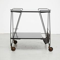 Mathieu Mategot Trolley, circa 1950 | From a unique collection of antique and modern dry bars at https://www.1stdibs.com/furniture/storage-case-pieces/dry-bars/