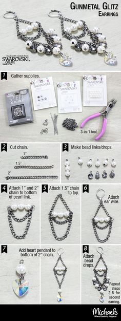 Follow these step by step directions to make a pair of Gunmetal Glitz Earrings.