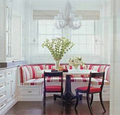Red accent in a white kitchen