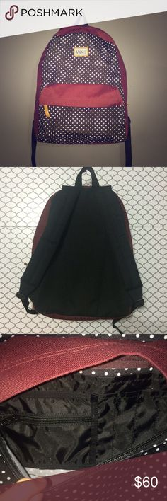 Vans Backpack Maroon color with black and white polka dots accents. Worn once for a trip. Nearly perfect condition.  Small pocket on front has zippered pocket and pen space as well as having two sections to it.  No ️ay️al No Ⓜ️ercari  ask me about bundles  reasonable offers considered  Vans Bags Backpacks