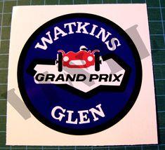 Watkins Glen Race Circuit Sticker - Vintage Sports Car Racing Decal - SCCA