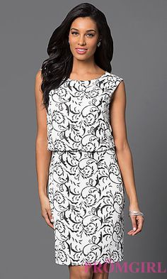 Print Knee Length Blouson Top Dress at PromGirl.com