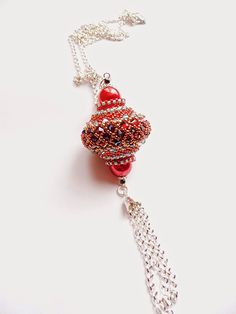 beaded bead, pendant, beadweaving, beadwork, beaded necklace