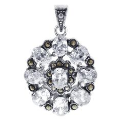 Sterling Silver Pendants, 925 Silver, Silver Metal, Buy Gems, Beautiful Flower Designs, Flower Pendant, Marcasite, Free Gifts, Jewelry Stores