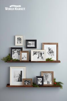 Make favorite memories last a lifetime with our unique global array of picture perfect photo frames, featured at pristine budget-friendly prices. Picture Wall Living Room, Family Room Walls, Living Room Photos, My Living Room, Family Collage Walls, Living Room Decor, Picture Frame Shelves, Frame Wall Collage, Unique Picture Frames