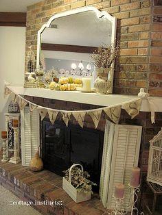 Burlap Wreath on Fireplace Screen | Craft-it | Pinterest | Burlap ...