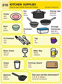 210 Learn Korean Hangul Kitchen Supplies