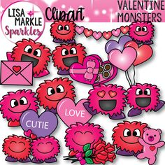 Just in time for Valentine's Day, those adorable little monsters are back! Ready to share their love with you, they've brought chocolates, roses, a teddy bear, candy hearts, balloons, and more! Let them help people fall in love with your teaching activities and classroom decor! The set includes ten different monsters in both color and black line versions. Each graphic is a 300 DPI PNG file. Personal and small commercial use acceptable; my terms of use file is included! Enjoy!!