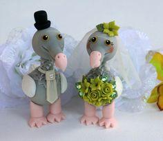 Dodo love bird wedding cake topper lime green by PerlillaPets