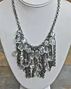 Crystal & Silver Chain Necklace