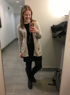Something Good | A DC Style Blog, black dress, tan sweater, cardigan, tan cardigan, long cardigan, black riding boots, work appropriate outfit,  #workoutfitinspiration #fallstyle #winterstyle #whatiwore #womensfashion #womensclothing