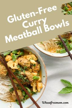 These bowls are filled with curry meatballs, cauliflower, noodles and a creamy flavourful curry sauce. This gluten-free meal is delicious and your taste buds will love it. Meatball Recipes, Meal Recipes, Gluten Free Recipes, Curry Bowl, Pork Noodles, Curry Sauce, Free Meal, Shredded Carrot, Spaghetti And Meatballs