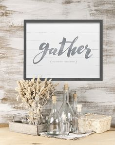 """""""Gather"""" personalized print. Add your family name to this rustic farmhouse style…"""