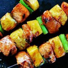 Salmon Teriyaki Skewers with Pineapple @MaryAnne Rowley we should make these sometime!!