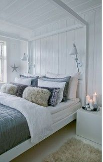 Nautical Scandinavian painted wood paneling, colors, and accessories.