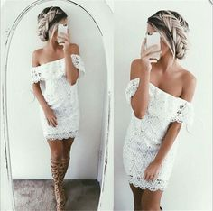 her Hair is Rockin' ! ! ! Dress is cute too White Plain Hollow out Lace Boat Neck Mini Dress