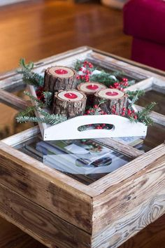 These Rustic Wood Candle Holders Are My Absolute Favorite This Year! - These simple rustic wood candle holders my DIY hubby made for me exemplify beauty with ju… Pallet Wood Christmas Tree, Rustic Christmas, Christmas Holiday, Christmas Ideas, Christmas Wreaths, Christmas Ornaments, Window Table, A Table, Old Window Crafts