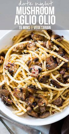 An easy, 15 minute recipe where the traditional spaghetti aglio olio is dressed up with sautéed mushrooms.