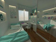 Quarto com toques de azul Tiffany Projeto de Jacqueline Fumagalli Next Bedroom, Room Ideas Bedroom, Bedroom Decor, Home Room Design, Small Room Design, Bed For Girls Room, Small Space Bedroom, Cute Room Decor, Room Planning