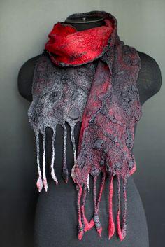 Nuno Felted Scarf | Flickr - Photo Sharing!  Marina Shkolnik    merino wool/mulberry silk/ silk ponge