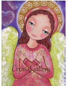 Angel of Sorrow , Art Painting, Print , Mixed Media, folk art, Wall Decore by Evona, , Evonagallery on Etsy
