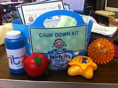 Calm Down Kit -  stress ball, Play Doh, squishy balls...to squeeze out anger. Crayons and spiral tablet...to write down feelings or draw. A calming jar...to relax. A small stuffed toy...for comfort. Visual cue cards...for deep breathing technique... shipped to you in a happy box :)
