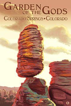 Colorado Springs, Colorado - Garden of the Gods, Balanced Rock - Lantern Press Poster