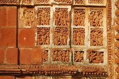 Terracotta work on the walls of Bishnupur Temple, West Bengal, India