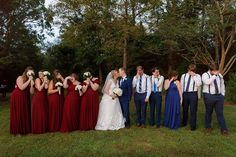 Red and blue bridal party