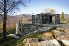 Stone villa hidden in the terrain of Pettenasco
