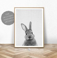 Woodland kwekerij Wall Art Decor, Bunny Rabbit Poster, afdrukbare Instant Digitale Download, zwart-wit Baby Forest dier