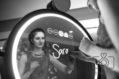 Beautiful Photo, showing our Magic Beauty Mirror at a recent event. Sarah is just about to receive her personalised print!! ❤️