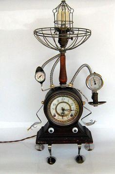 Steampunk music box table lamp