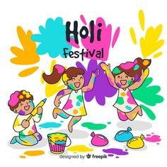 Hand drawn kids holi festival background Free Vector Holi Painting, Painting For Kids, Easy Drawings For Kids, Drawing For Kids, Diwali Festival Drawing, Holi Drawing, Holi Poster, Basket Drawing, Holi Festival Of Colours