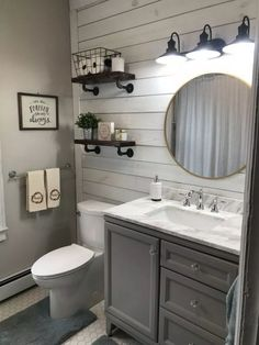 farmhouse bathroom decor ideas will go with any home design 48 . gorgeous farmhouse bathroom decor ideas will go with any home design 48 . Bathroom Renos, Bathroom Interior, Master Bathroom, Bathroom Renovations, Budget Bathroom, Half Bathroom Remodel, Shiplap Wall In Bathroom, Dyi Bathroom, Grey Bathroom Decor