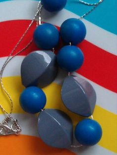 Chunky Vintage Lucite Necklace with Blue and Grey Beads ($28)
