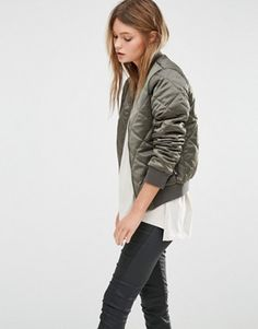 New Look | New Look Quilted Bomber Jacket at ASOS