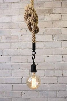 Anchor Rope Pendant Light with X large Edison light bulb Anchor Rope Pendelleuchte mit X großer Edis Edison Lighting, Industrial Lighting, Home Lighting, Pendant Lighting, Ceiling Pendant, Lighting Ideas, Edison Bulbs, Hallway Lighting
