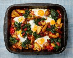 The brunch bake: Yotam Ottolenghi's roast potato, chorizo and eggs.