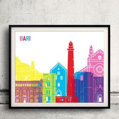 Bari pop art skyline  Fine Art Print Glicee Poster by Paulrommer