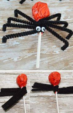 Spider Suckers | Click Pic for 35 DIY Halloween Crafts for Kids to Make | DIY Halloween Craft Ideas for Kids