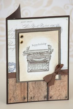 Happy Birthday Old Typewriter Typing Machine Handmade Card  with Hand-Sown Frame and Eyelets - Matching Envelope - GORGEOUS
