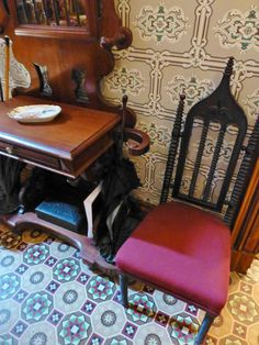 Flanking the Hall Tree are a pair of lovely Victorian Gothic Revival chairs. These are fabulous examples of this quintessentially Victorian...