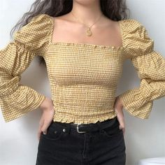 Plaid retro court sleeves slim pleated top, You can collect images you discovered organize them, add your own ideas to your collections and share with other people. Fashion 90s, Ulzzang Fashion, Look Fashion, Korean Fashion, Fashion Outfits, Fashion Design, Womens Fashion, Korean Outfits, Trendy Outfits