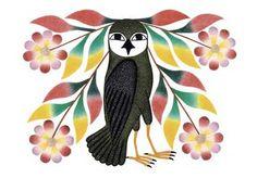 Owl's Bouquet by Kenojuak Ashevak, Inuit artist Inuit Kunst, Arte Inuit, Inuit Art, Native Art, Native American Art, American Artists, Owl Print, Arte Popular, Printmaking