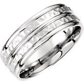 Fancy White Gold 8mm Carved Band