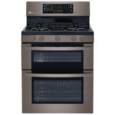 LG Black Stainless 30-in 5-Burner 4.4-cu ft / 2.3-cu ft Double Oven Convection Gas Range (Black Stainless Steel)