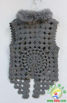 Crochet Vest - Detailed graphs and layout. Has circular motif on the back also Crochet Bolero Pattern, Gilet Crochet, Irish Crochet Patterns, Crochet Coat, Crochet Motifs, Crochet Jacket, Freeform Crochet, Crochet Blouse, Crochet Clothes