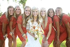 A perfect Fall wedding! I like the color of the bridesmaids dresses. Getting married in the Fall would be amazing :)