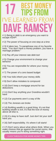 CHECK THIS OUT! 17 of the best money tips from Dave Ramsey. Here's the 17 personal finance lessons I've taken away from Dave Ramsey. personal finance tips debt free dave ramsey budgeting debt snowball money tips for money management tips dave Ways To Save Money, Money Tips, Money Saving Tips, Saving Ideas, Money Budget, Groceries Budget, Saving Time, Managing Money, Money Hacks
